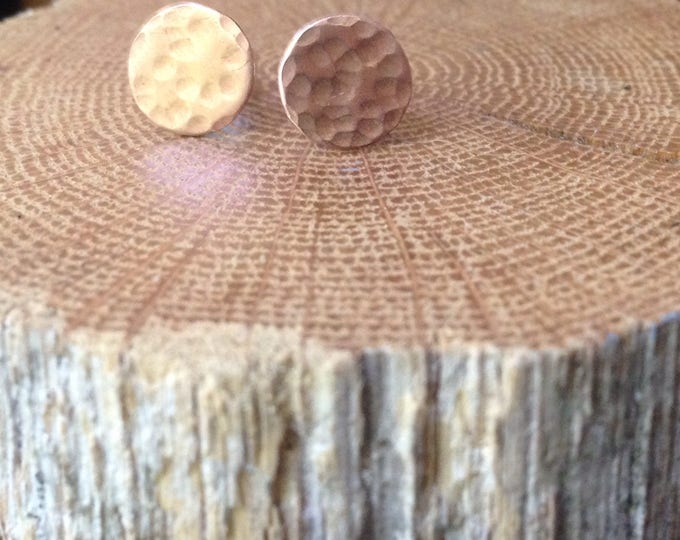 Copper Disc Studs/ Minimalist Copper Earrings/ Copper Circle Posts