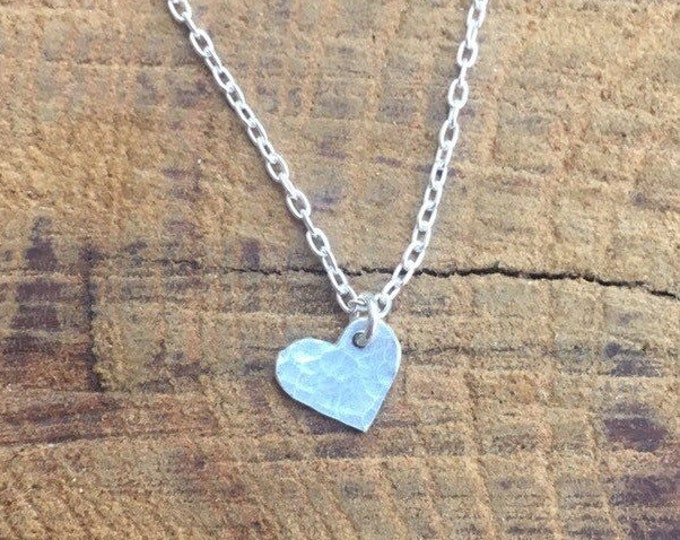 Tiny Silver Heart Necklace/ Minimalist Heart Necklace