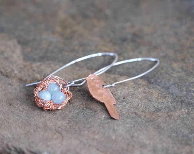 Assymetrical Bird and Nest Earrings