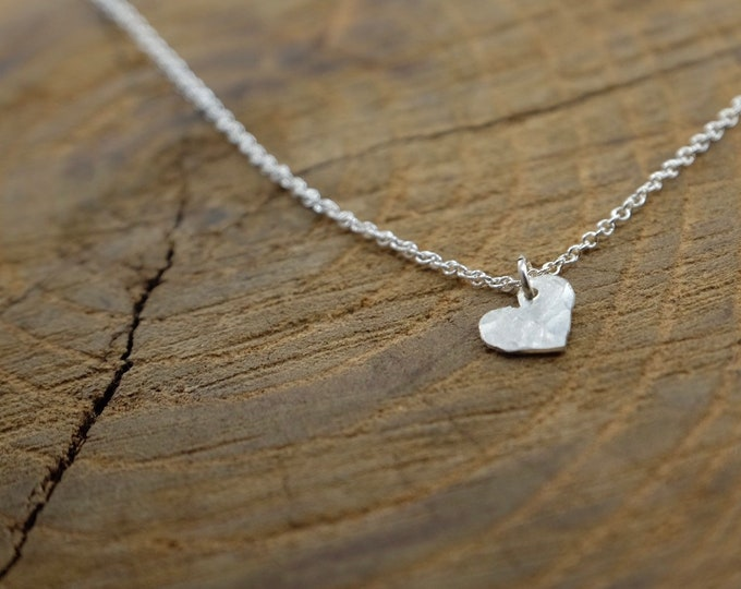 Tiny Silver Heart Necklace/ Minimalist Heart Necklace