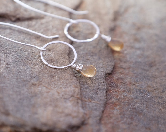 Golden Citrine Circles/November Birthstone Earrings