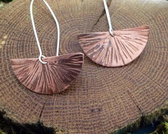 Half Moon Copper Earrings/ Copper Gingko Earrings