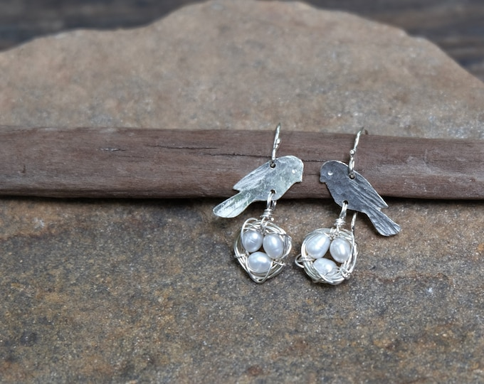Silver Bird and Nest Earrings