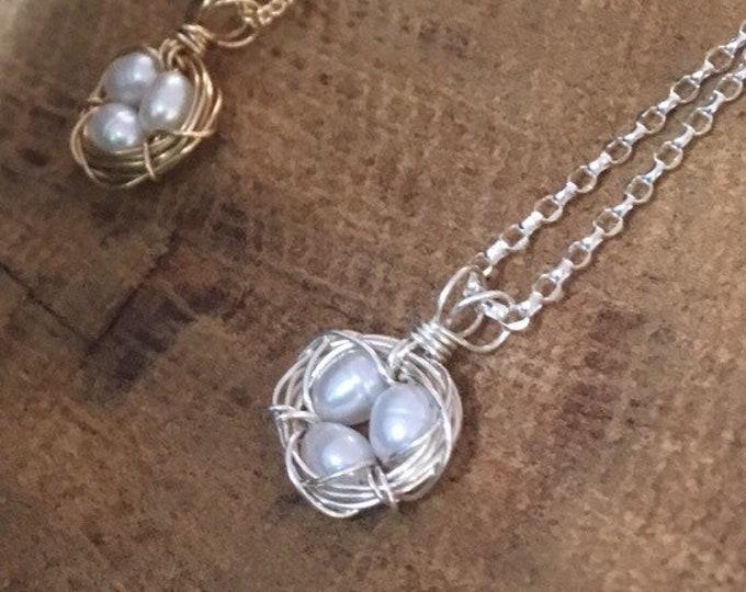 Tiny Nest Necklace/ Pearl Bird's Nest Necklace