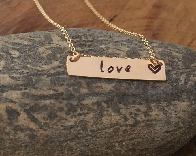 Love Bar Necklace/Gold Love Bar
