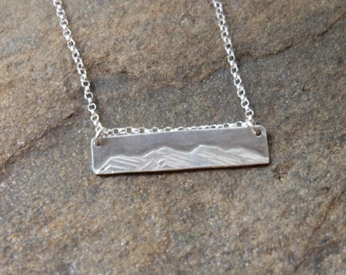 Silver Mountain Bar Necklace/ Silver Mountain Night Scene Necklace