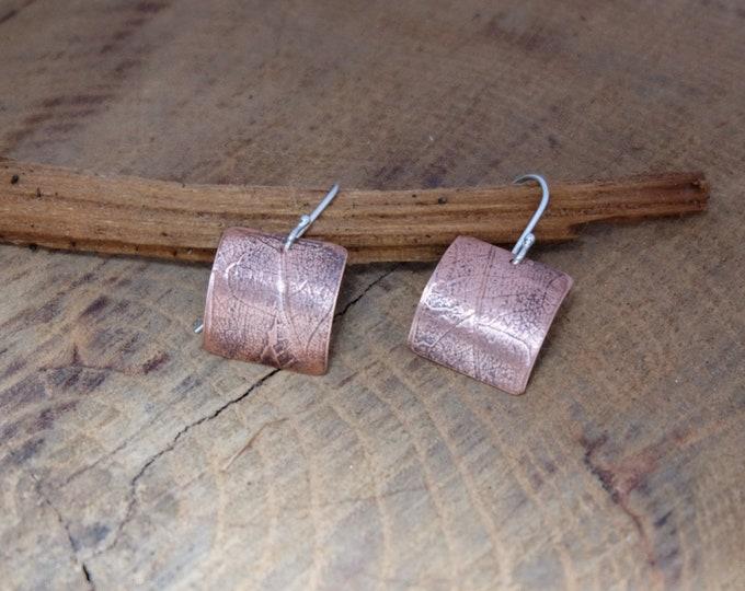 Copper Geometric Leaf Earrings