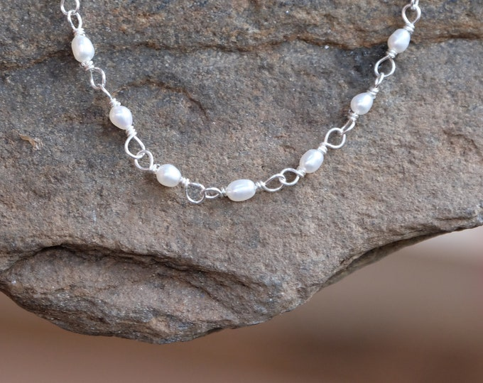 Tiny Pearls Wrapped in Silver