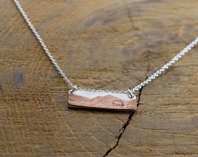 Copper and Silver Mixed-Metal Mountain Bar Necklace w/ bear