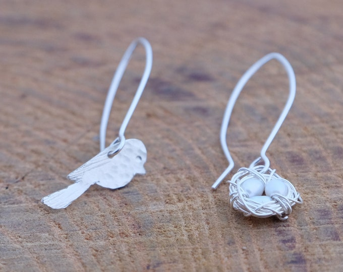 Assymetrical Bird and Nest Earrings w/ Freshwater Pearls