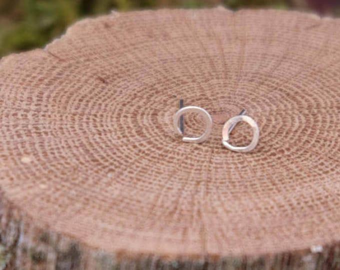 Tiny Silver Circle Studs