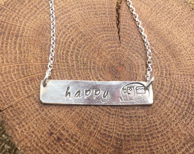 Happy Camper Silver Bar Necklace