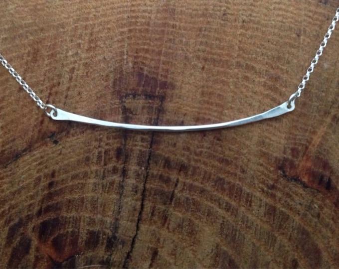Sterling Silver Bar Necklace/ Minimalist Silver Bar