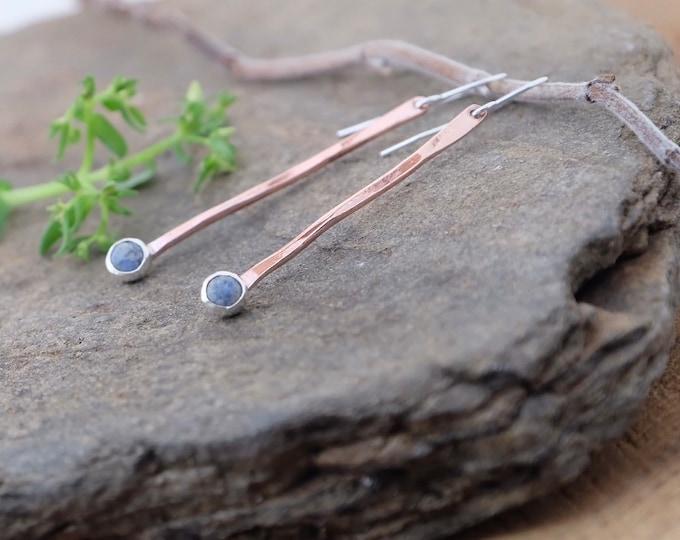 Denim Lapis and Copper Drop Earrings