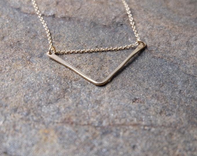 Simple Gold V Necklace