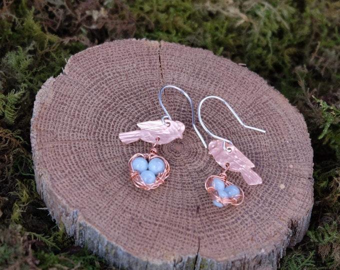 Copper and Aquamarine Bird's Nest Earrings