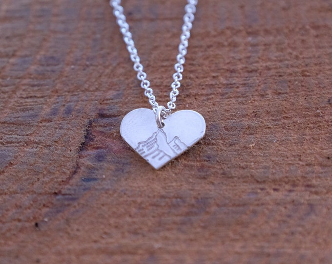Silver Mountain Heart Necklace/ Minimalist Heart Necklace