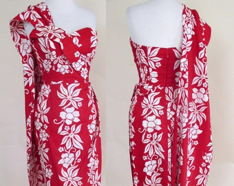 f518f3465174 Awesome Vintage Strapless Hawaiian Sarong Dress with matching sash by