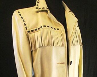 Vintage 1960's Cream Dear Skin Fringe Jacket Western with overstitching Rockabilly Size Medium