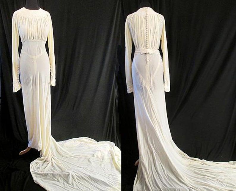 93ea165edc5 Stunning 1930 s Bias Cut Winter White Silk