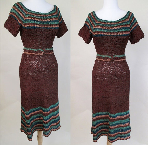 Charming 1940's Woven Ribbon Dress in Rich Colors