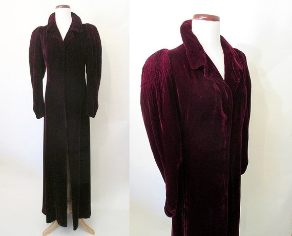 Breathtaking 1930's Burgundy Silk Velvet Long Dram