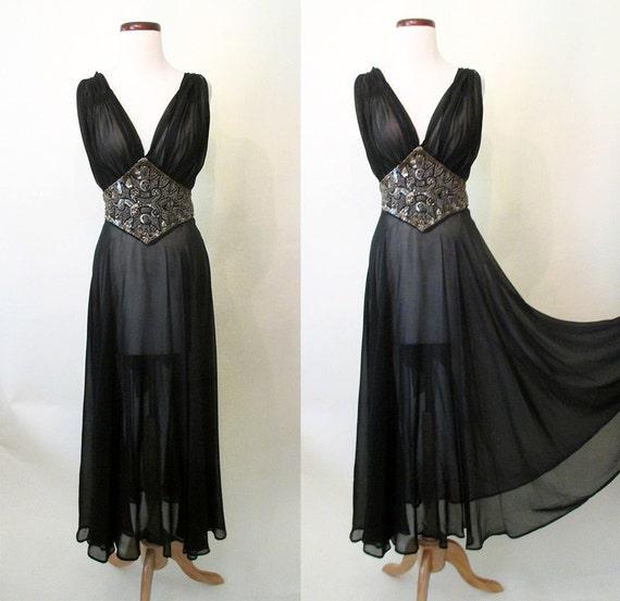 Breathtaking 1930's Sheer Black Silk Chiffon Gown