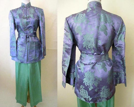 ON HOLD Dazzling 1940's Silk Asian Lounging Pajama