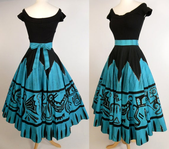 Killer 1950's Hand Painted Mexican Circle Skirt wi