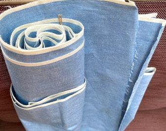 "Vintage Crisp Cotton Broadcloth Poplin Fabric Shirting Yardage 35"" wide x 4+ Yards"