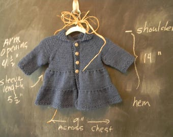 Girl's Blue Knit Coat