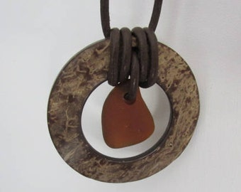 Leather Pendant Sea Glass Necklace Circle Jewelry Gift for Her Beach Glass Treasure Brown Genuine Authentic Beach Find Seaglass