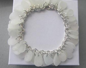 Bracelet Jewelry Sea Glass Bracelet Genuine Authentic Beach Glass Jewelry Genuine Sea Glass Beach White Wedding Bridesmaid Gift for Her