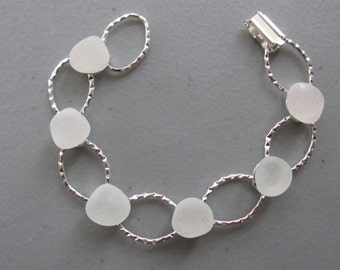 Sea Glass Jewelry, White Sea Glass Bracelet, Hammered Bracelet, Beach Glass Bracelet, White Jewelry, Wedding Gift, Gift for Her