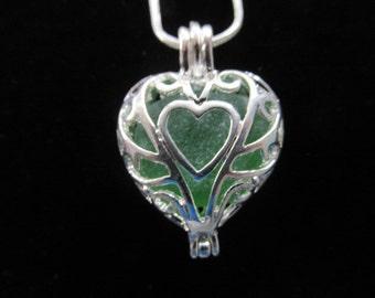 Heart Necklace Locket, Green Sea Glass Jewelry, Beach Glass Jewelry, Sea Glass Pendant, Locket Jewelry