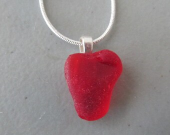 Red Sea Glass Pendant, Beach Glass Pendant, Sea Glass Necklace, Red Seaglass Pendant, Rare Red Necklace, Beach Glass Jewelry