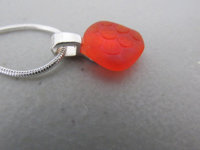 Beach Glass Pendant Unique Sea Glass Necklace Orange Jewelry Canadian Jewellery Gift for Her