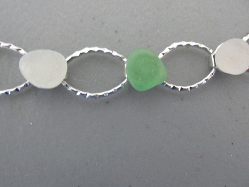 Wedding Gift Unique Bracelet Silver Hammered Jewelry Gift for Her Sea Beach Glass Bracelet