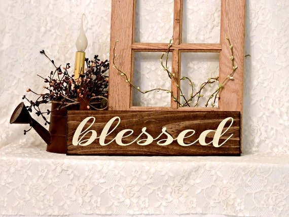 Blessed Primitive Country Painted Wall Sign Wall Decor | Etsy