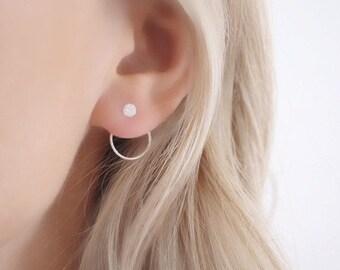 Crystal ear jacket • Silver ear jacket • silver ear jacket • sterling silver earrings • earrings dangle • bridesmaids earrings • earrings
