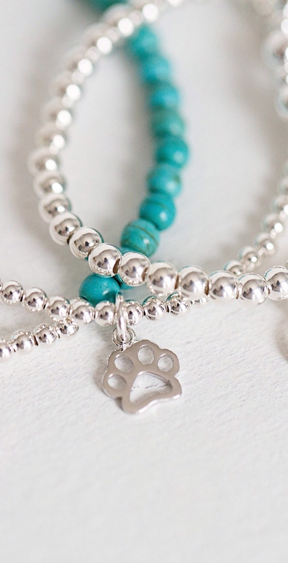Silver Paw Cavachons: Sterling Silver Paw Print Bracelet Silver Paw Charm