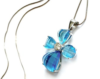 Blue Topaz Cross 925 Sterling Pendant on Silver 16 inch chain, Made in Italy Blue Gemstone Cross Pendant,
