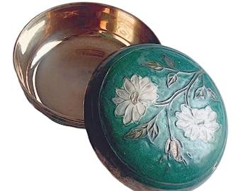 Green Enamel Brass Lidded Box, Vintage Floral Enamel and Brass Storage Box, Round Brass Box with Enamel Floral Top, Enamel Topped Brss Box