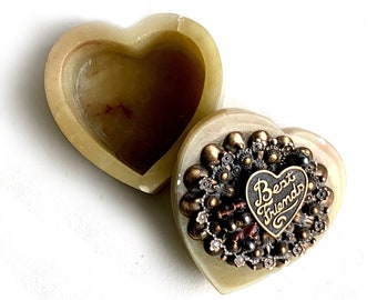 Best Friends Soapstone Heart Shaped Box, JoMarz First Edition Heart Box, Embellished Heart Box, Friendship Heart Box, Love and Friendship