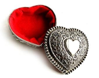 Vintage Silverplate Heart Shaped Box, Ornate Red Lined Silver Heart Box, Silver Plate Heart Jewelry Box, Silver Heart Trinket Box, Lined Box