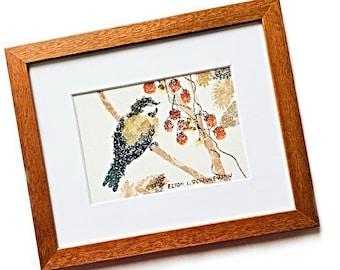 Vintage Framed Original Bird Watercolor Painting, Wood Framed Bird Art, Original Elton L. Scheunamann Bird Art, Asian Style Watercolor Art