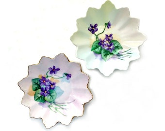 Two Hand Painted Violet Dishes, Violet Flowers Dish Set, Signed Hand Painted Scalloped Violet Dishes, Two Hand Painted Violet Dishes Japan