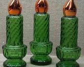Avon Candle Bottles Set of Three Vintage Holiday Decor