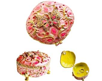 Pink Butterfly Enamel Trinket Box, Large Hinged Enamel Butterfly Box, Ornate Pink Gold Enamel and Rhinestone Butterfly Box, Butterfly Box