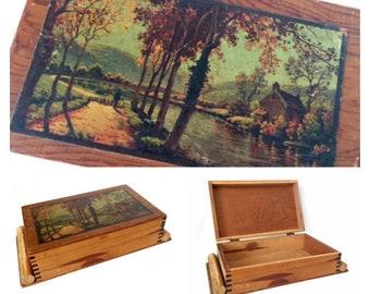 Vintage Trinket Box, Decoupage Topped Wooden Box, Hinged Wooden Box, Dovetail Wood Box, Vintage Wood Jewelry Box, Cottage Theme Box